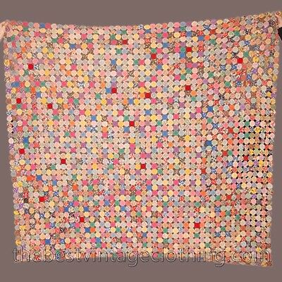 Antique YoYo  Pinwheel Quilt Hand-Sewn Early 1900s Cotton 94x86 Beautiful Colors