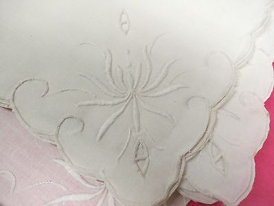 4 Antique Vintage Napkins 15 Square White on White Embroidered