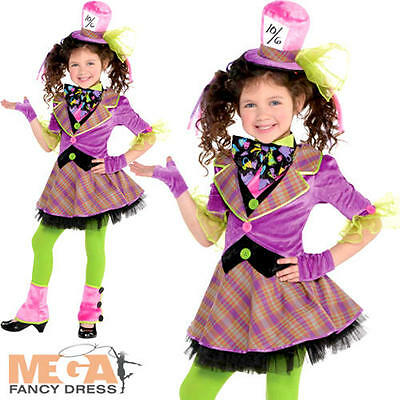 Mad Hatter Girls Fancy Dress Fairy Tale Book Day Week Kids Childrens Costume New