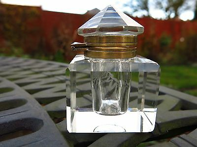 ANTIQUE STYLE Cut Glass Ink Bottle-Very Nice Condition.