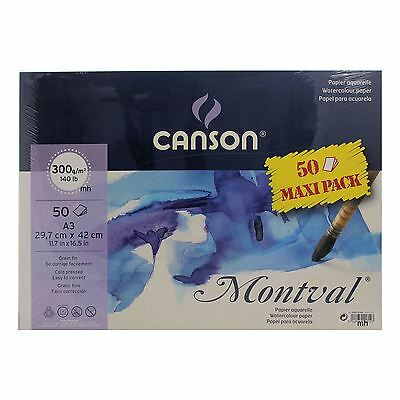Canson Montval A3 50 Sheets 300gsm Cold Pressed Watercolour paper Pack