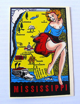 travel CAR DECAL sticker souvenir Mississippi USA pin up Goldfarb novelty Impko