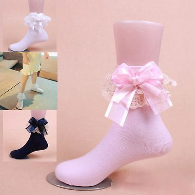 Sweet Ankle Baby Girls Big Bow Lace Frilly Ruffle Princess Socks Cotton