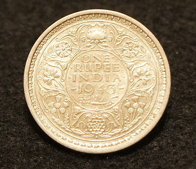 1943B India Rupee AU Condition 50% SILVER Excellent Old Collectible Coin!