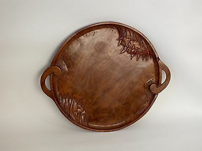 "Large 15"" Vintage Ornate Floral  Carved Circular Wooden Serving Tray"