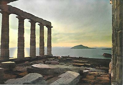 Greece- Sounion - Sunset at temple of Neptune - Unposted Postcard