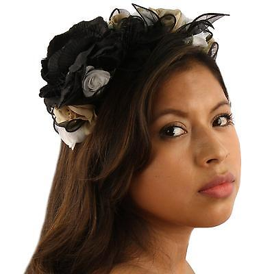 Pretty Flower Girl Bridal 10 Roses Floral Headband Fascinator Cocktail Hat Black
