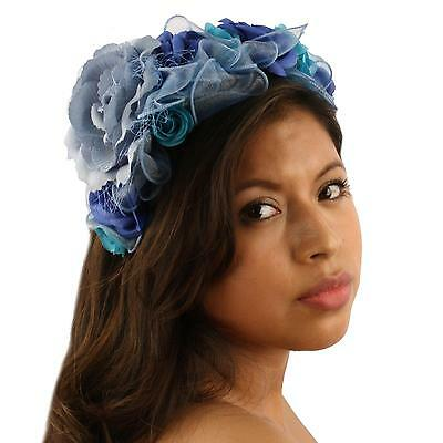 Pretty Flower Girl Bridal 10 Roses Floral Headband Fascinator Cocktail Hat Blue