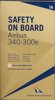 1 x SOUTH AFRICAN AIRWAYS A340-300e SAFETY CARD *7A*