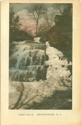 Swartswood NJ The High Falls, Hand Colored 1921