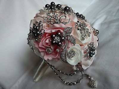 Brooch Wedding Bouquet Ivory & Pinks - Crystal Faux Grey Pearl Embellishments
