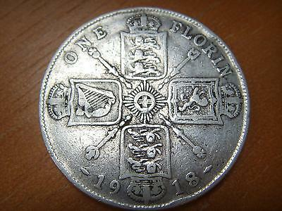 1918 George V Silver Florin / Two Shilling