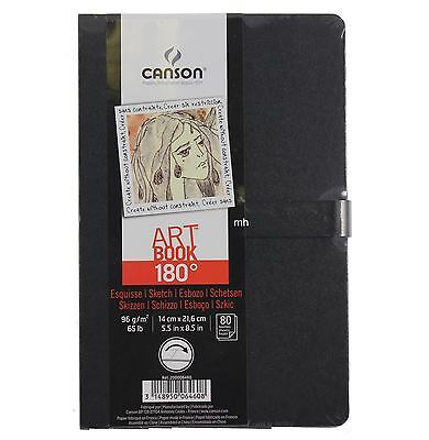 Canson 14x21.6cm 180 Sketchbooks 96gsm 80 sheets drawing pad open flat