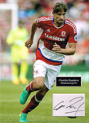 Gaston RAMIREZ SIGNED Autograph 16x12 Photo Mount AFTAL COA Middlesbrough