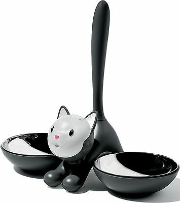 A Di Alessi Tigrito Cat Bowl in 18/10 Stainless Steel and Thermoplastic R... NEW