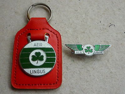 Vintage Airline Enamel Badge Aer Lingus By Squire And Matching Key Ring Fob