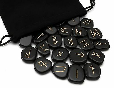 Black Obsidian Elder Futhark Rune Set Hand Carved Gemstone Runic