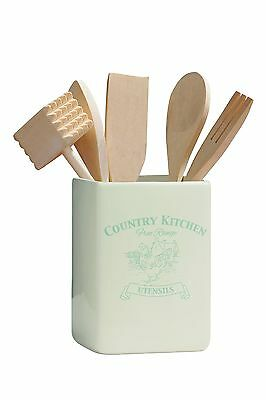 Premier Housewares Country Kitchen Utensil Holder with Tools - Cream NEW
