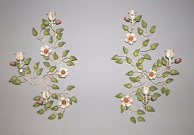 "Pair (2) Vintage  Italy Tole Floral Candle Holder Rose Buds 22"" Tall Wall Sconce"
