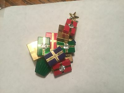 Christmas Tree Pin Decorated with Packages