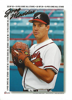 Lot of Greg Maddux 3 Individual Large Cards & One SI Poster Card