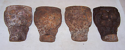 4 Vintage Antique CAST IRON BATH TUB FEET VERY Ornate - Rusty Dirty Relclaimed