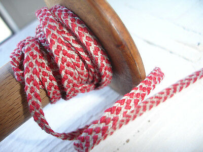 Small Natural  Linen   Sewing Tape / Ribbon  Trim Red Stitch 1 Yard
