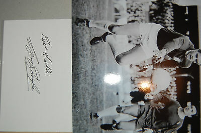 Leeds United Gary Sprake Signed White Card + 10X8 Photo