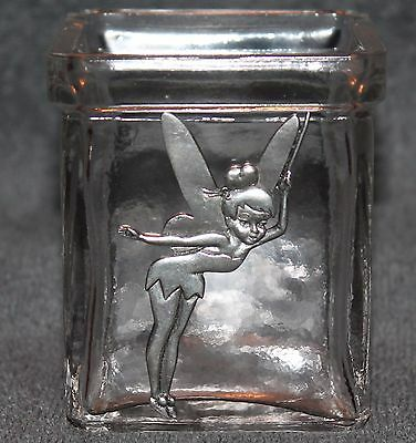 Nice Tinker Bell Disney SQUARE Glass Candle Holder & Metal Tinker Bell