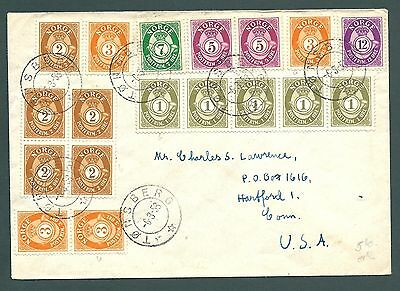 1953 cover from Tonsberg, NORWAY to the USA - Multi-combination franking