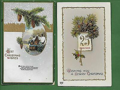 Lot of 9 Christmas Postcards - Pine Trees and Branches - Scenic - Candles