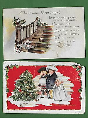Lot of 15 Christmas Postcards - Christmas and New Year's - DAMAGED