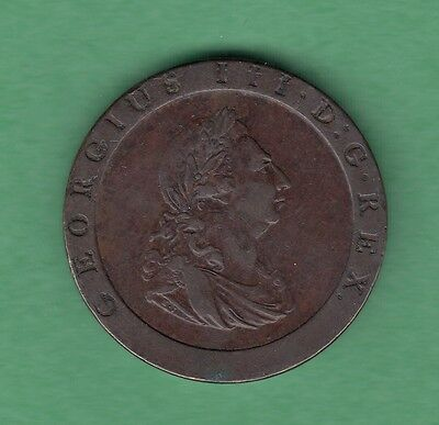 1797 Great Britain 1 Penny Copper Coin - George III - VF/EF
