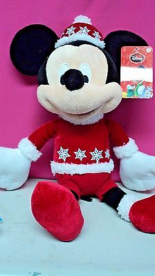 Mickey Mouse w/ Snowflake Sweater & Hat Christmas Winter Plush Toy Disney NWT