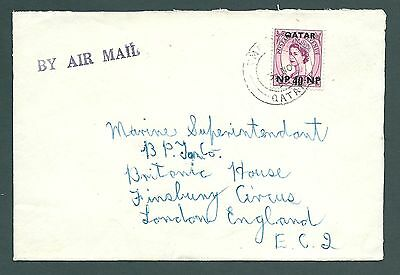 1958 cover - QATAR to England with 40 NP overprinted 'Wilding' stamp