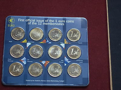 2001 First Official Issue of The 1 Euro Coins Of The 12 Memberstates. BU
