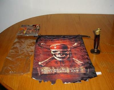 Disney Store Pirates of the Caribbean INDOOR WALL HANGING FLAG SWORD NEW