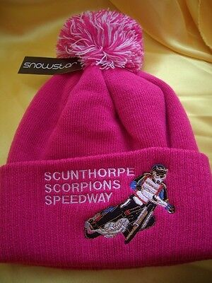 Scunthorpe Scorpions Speedway Pink Bobble Hat