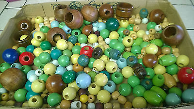 Vintage Lot  Macrame Craft WOODEN WOOD BEADS OVER 300