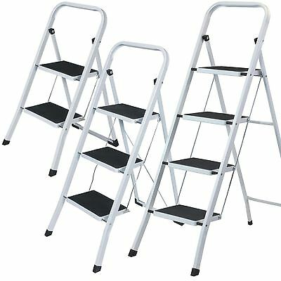 Foldable 2, 3 & 4 Step Ladder Non Slip Tread Stepladder Safety Kitchen