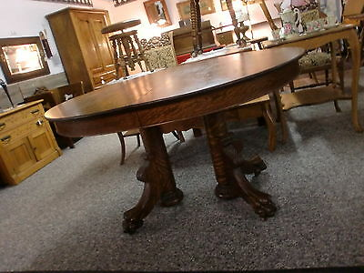 Antique Oak Oval Dining Room Table with Massive Claw Feet Double Pedestal WOW!!!