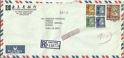 Hong Kong,R-letter Kwaitung Prov. Bank 1994 with 10 $ Queen Elisabeth to Hamburg