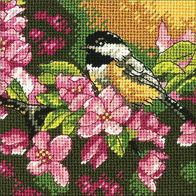 Needlepoint Mini Kit ~ Dimensions Chickadee In Pink Perched Bird #71-07244