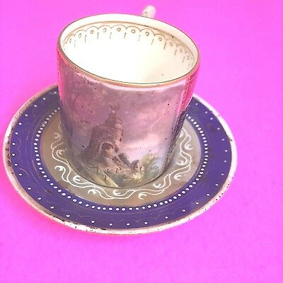 Signed ~Royal Vienna Beehive Hand Painted Porcelain Cup & Saucer Karlsbad?