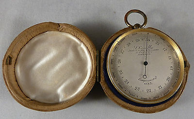 FINE ANTIQUE RARE POCKET BAROMETER / ALTIMETER LOUIS P CASELLA LONDON c1865