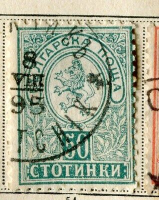 BULGARIA;   1889 early classic issue fine used 50c. value