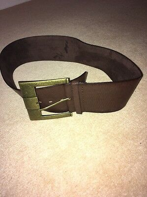 Brown Leather Look Chunky Belt Size Small