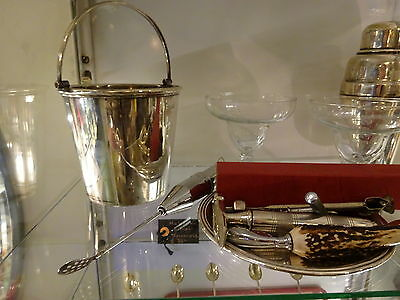 Vintage Silver Plate Cocktail Set 2 Shakers, Asprey, Wine Cooler & accessories