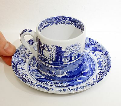 Beautiful SPODE Blue Italian Small Coffee Cup & Saucer - Excellent Condition