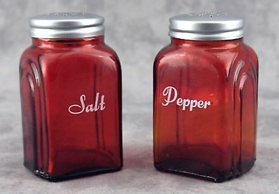 RED GLASS ARCH SALT & PEPPER SHAKER SET with LETTERING